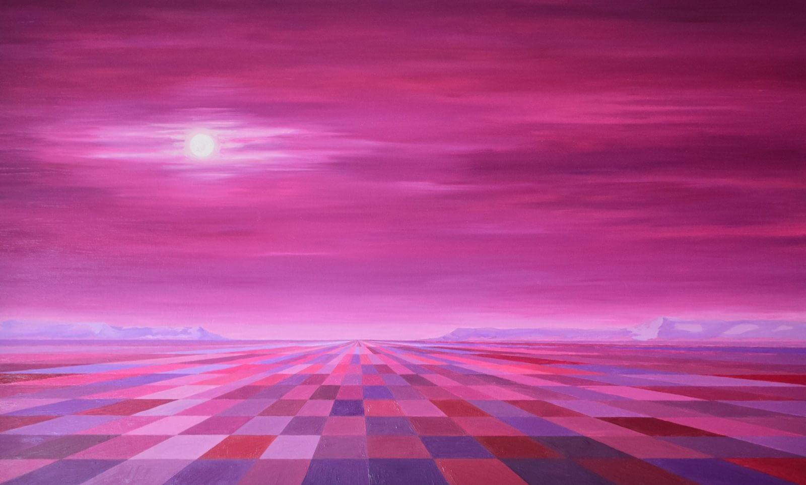 Luna llena en campos magenta