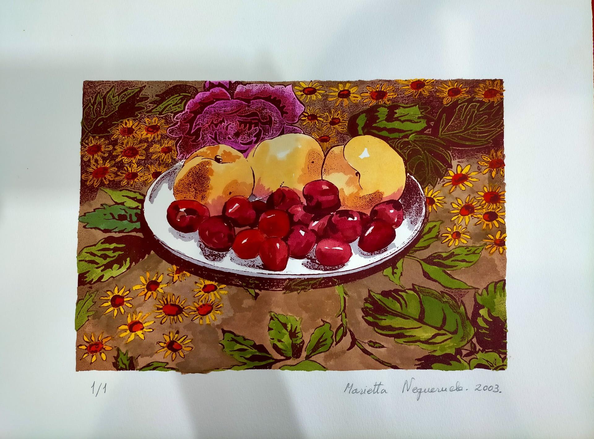 Bodegón con cerezas